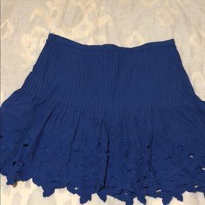J. Crew Blue Embroidered Mini Skirt